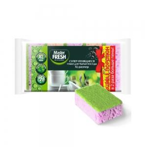 Master FRESH Губки быт. д/мытья посуды XL (bubble-поролон) 5шт микс яркие цвета