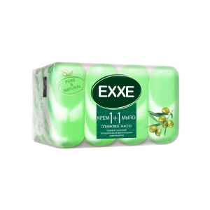 """EXXE 1+1 Крем-мыло туал. """"Оливковое масло"""" 90г (зеленое) полосатое (экопак 4шт)"""