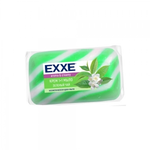 """EXXE 1+1 Крем-мыло туал. """"Зеленый чай"""" 80г (зеленое) полосатое"""