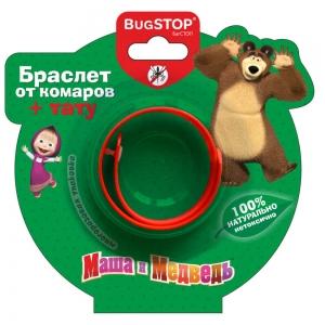 """Браслет от комаров для детей """"Маша и Медведь"""" KIDS+тату (1шт)"""