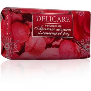 """Мыло туалетное Delicare Parfumed soap """"Малина и лепестки розы"""", 90г"""