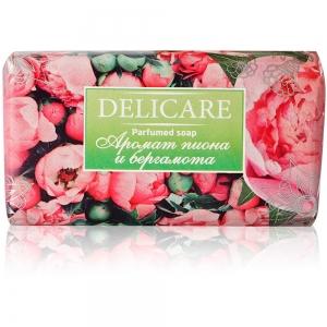 """Мыло туалетное Delicare Parfumed soap """"Пион и бергамот"""", 90г"""
