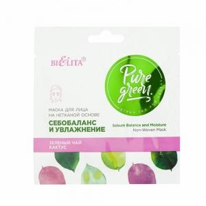 """Pure Green  Маска для лица """"Себобаланс и увлажнение"""" на нетканой основе для комбинированной и проблемной кожи, 1шт"""