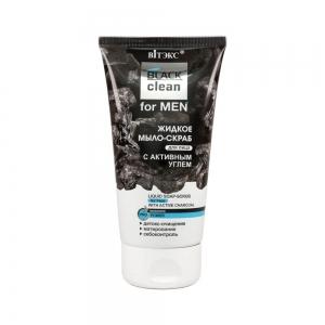 BLACK clean for MEN  Жидкое мыло-скраб для лица с активным углем, 150мл тб