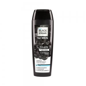 BLACK clean for MEN  Гель-душ для волос, тела и бороды с активным улем, 400мл
