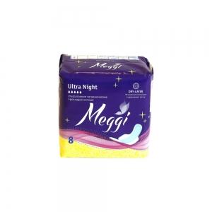 Прокладки гигиенические Meggi Ultra Night драй (8шт)
