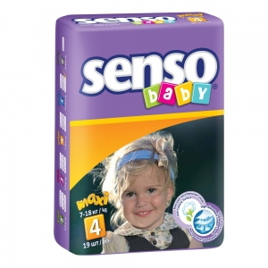 Подгузники для детей Senso Baby maxi (7-18кг) с кремом-бальзамом (19шт)