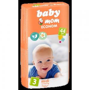 Подгузники для детей Baby Mom Econom midi (4-9кг) с кремом-бальзамом (44шт)