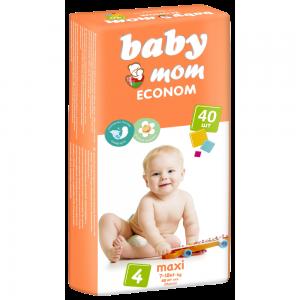 Подгузники для детей Baby Mom Econom maxi (7-18кг) с кремом-бальзамом (40шт)