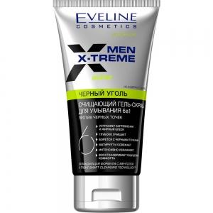 Men X-Treme Active Гель-скраб для умывания 6в1 Черный уголь против черных точек, 150мл