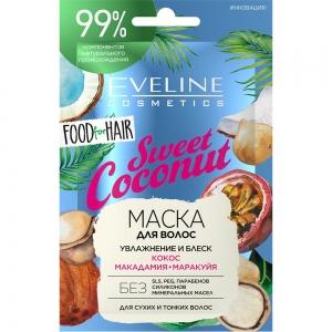 Food for Hair Маска для волос Sweet Coconut увлажнение и блеск, 20мл