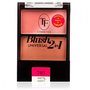 "Румяна для лица TBL-07-703C ""Universal Blush 2in1"" с матовым и шиммер эффектом тон 703 ""абрикосовое наслажд."""