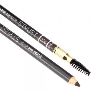 """Карандаш для бровей W-214-206C тон №206 """"Eyebrow Pencil Stylist"""" со щеточкой """"мягкий черный"""""""